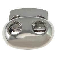 Zinklegierung Feder Stopper-Schnalle, Platinfarbe platiniert, frei von Nickel, Blei & Kadmium, 17x15x6.50mm, Bohrung:ca. 4mm, 100PCs/Menge, verkauft von Menge