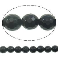 Natürliche schwarze Achat Perlen, Schwarzer Achat, rund, facettierte, 10mm, Bohrung:ca. 1.2mm, ca. 38PCs/Strang, verkauft per ca. 15.7 ZollInch Strang