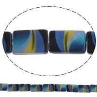 Natürliche Kunstdruck Muschelperlen, Muschel, Rechteck, keine, 15x19x3mm, Bohrung:ca. 1mm, Länge:ca. 15.7 ZollInch, 10SträngeStrang/Tasche, ca. 20PCs/Strang, verkauft von Tasche