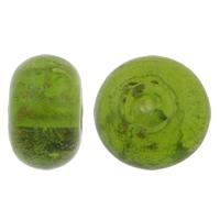 Goldsand Lampwork Perlen, Rondell, handgemacht, grün, 13x8mm, Bohrung:ca. 2mm, 10PCs/Tasche, verkauft von Tasche