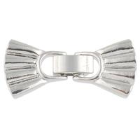 Zinklegierung Fold Over Verschluss, Schleife, plattiert, 4-Strang, keine, frei von Nickel, Blei & Kadmium, 32x15x3mm, Bohrung:ca. 1mm, 10PCs/Tasche, verkauft von Tasche