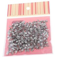 Eisen Endkappe, Platinfarbe platiniert, frei von Nickel, Blei & Kadmium, 4x7x4mm, 100x170mm, Bohrung:ca. 1mm, 500PCs/Tasche, verkauft von Tasche