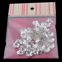 Eisen Perlenkappen, Blume, silberfarben plattiert, frei von Nickel, Blei & Kadmium, 14x5mm, 100x170mm, Bohrung:ca. 2mm, 100PCs/Tasche, verkauft von Tasche