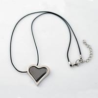 PU-Schnur-Halskette, Edelstahl, mit PU Schnur, mit Verlängerungskettchen von 2lnch, Herz, plattiert, zweifarbig, 25x30mm, Länge:ca. 16.5 ZollInch, 30SträngeStrang/Menge, verkauft von Menge
