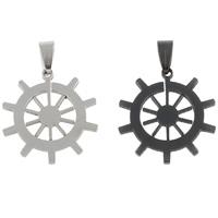 Edelstahl Schmuck Anhänger, Schiffsrad, plattiert, nautische Muster, keine, 27x28x1.50mm, Bohrung:ca. 4x7mm, 10PCs/Tasche, verkauft von Tasche