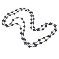 Süßwasserperlen Pullover Halskette, Natürliche kultivierte Süßwasserperlen, mit Kristall & Glas-Rocailles, Barock, facettierte, schwarz, 4x4mm, 5-7mm, verkauft per ca. 30 ZollInch Strang