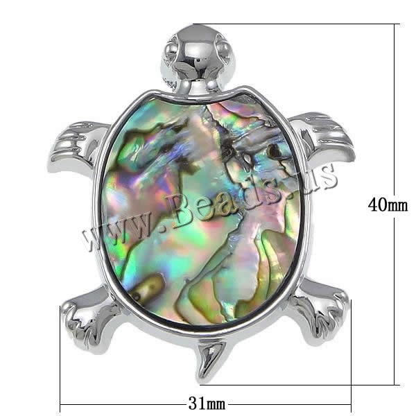 Buy Natural Abalone Shell Pendants Brass White Shell & Abalone Shell Turtle platinum color plated nickel lead & cadmium free 31x40x6mm Hole:Approx 2x5mm Sold PC