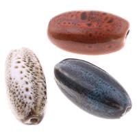 Glasierte Porzellan Perlen, oval, glaciert, gemischte Farben, 13-14mm, 25-26mm, Bohrung:ca. 2mm, 100PCs/Tasche, verkauft von Tasche