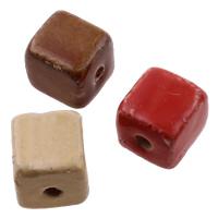 Glasierte Porzellan Perlen, Würfel, glaciert, gemischte Farben, 13-14mm, 14-15mm, Bohrung:ca. 3mm, 100PCs/Tasche, verkauft von Tasche