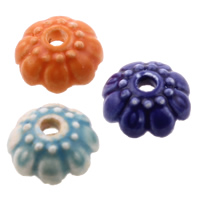 Porzellan Perlkappen, Blume, glaciert, gemischte Farben, 11-12mm, Bohrung:ca. 2mm, 100PCs/Tasche, verkauft von Tasche