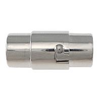 Edelstahl Magnetverschluss, 304 Edelstahl, Rohr, originale Farbe, 18x8x9mm, Bohrung:ca. 6mm, 50PCs/Menge, verkauft von Menge