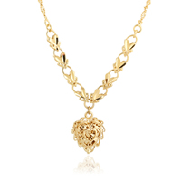 Gets® Schmuck Halskette, Messing, Herz, 18 K vergoldet, Blume Schnitt & Seil-Kette & hohl, frei von Nickel, Blei & Kadmium, 15-20mm, verkauft per ca. 20 ZollInch Strang