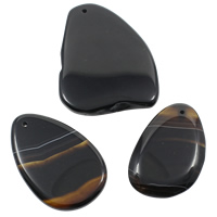 Spitze Achat Anhänger, Streifen Achat, gemischt, schwarz, 33-57mm, 52-72mm, Bohrung:ca. 1mm, 20PCs/Tasche, verkauft von Tasche