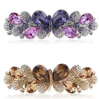 Zinklegierung Haardekoration, mit Kristall, Schmetterling, plattiert, facettierte & mit Strass, gemischte Farben, frei von Nickel, Blei & Kadmium, 85x25mm, 3PCs/Tasche, verkauft von Tasche