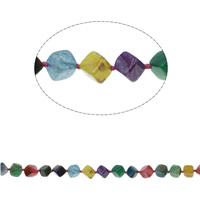 Natürliche Crackle Achat Perlen, Geknister Achat, Würfel, gemischte Farben, 16x16x14mm, Bohrung:ca. 1mm, ca. 20PCs/Strang, verkauft per ca. 15.7 ZollInch Strang
