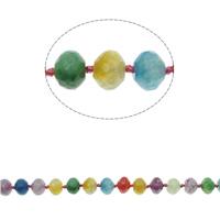 Natürliche Crackle Achat Perlen, Geknister Achat, Rondell, facettierte, gemischte Farben, 23x10mm, Bohrung:ca. 1mm, ca. 32PCs/Strang, verkauft per ca. 16.9 ZollInch Strang