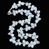 Meer Opal Halskette, mit Nylonschnur, Zinklegierung Karabinerverschluss, Rondell, 8x5mm, verkauft per ca. 19.5 ZollInch Strang