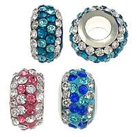 Lehm pflastern European Perlen, Rondell, Platinfarbe platiniert, mit 64 Stück Strass & einadriges Kabel Messing ohne troll, keine, frei von Nickel, Blei & Kadmium, 8x12mm, Bohrung:ca. 4.5mm, 30PCs/Menge, verkauft von Menge