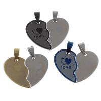 Edelstahl -Paar-Anhänger, Herz, Wort Liebe, plattiert, für paar, keine, 35x27x2mm, Bohrung:ca. 4x8mm, 10PaarePärchen/Tasche, verkauft von Tasche