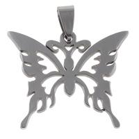 Edelstahl Tieranhänger, Schmetterling, hohl, originale Farbe, 33x27.50x1mm, Bohrung:ca. 5x9mm, 10PCs/Tasche, verkauft von Tasche