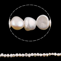 Barock kultivierten Süßwassersee Perlen, Natürliche kultivierte Süßwasserperlen, natürlich, weiß, 4-5mm, Bohrung:ca. 0.8mm, verkauft per ca. 15 ZollInch Strang