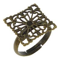 Messing filigrane Ringbasis, Quadrat, antike Bronzefarbe plattiert, einstellbar, frei von Nickel, Blei & Kadmium, 16mm, Größe:6.5, 100PCs/Menge, verkauft von Menge