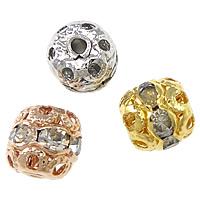 Strass Messing Perlen, Trommel, plattiert, mit Strass & hohl, keine, frei von Nickel, Blei & Kadmium, 6x6mm, Bohrung:ca. 1mm, 100PCs/Menge, verkauft von Menge