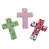 Polymer Ton Anhänger, Kreuz, handgemacht, mit Blumenmuster, gemischte Farben, 30x45x3mm, Bohrung:ca. 1.5mm, 100PCs/Tasche, verkauft von Tasche
