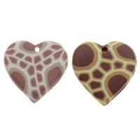 Polymer Ton Anhänger, Herz, handgemacht, gemischte Farben, 19x20x3mm, Bohrung:ca. 1.5mm, 100PCs/Tasche, verkauft von Tasche