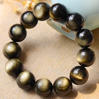 Gold- Obsidian Armband, rund, natürlich, verschiedene Größen vorhanden, Grade AAAAA, verkauft per ca. 7.5 ZollInch Strang