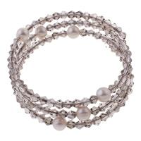 Memory Wire Armband, Natürliche kultivierte Süßwasserperlen, mit Kristall & Eisen, Kartoffel, natürlich, Perlen Armband & 3-Strang & facettierte, weiß, 8-9mm, 4.5x4mm, Innendurchmesser:ca. 55mm, Länge:ca. 6.5 ZollInch, verkauft von PC