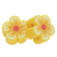Polymer Ton Perlen , Blume, handgemacht, gelb, 9x5mm, Bohrung:ca. 1.5mm, 100PCs/Tasche, verkauft von Tasche