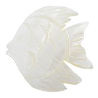Natürliche weiße Muschel Anhänger, Fisch, 30x35x3mm, Bohrung:ca. 1.5mm, 20PCs/Tasche, verkauft von Tasche