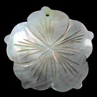 Natürliche schwarze Muschel Anhänger, Blume, 46x7mm, Bohrung:ca. 2mm, 10PCs/Tasche, verkauft von Tasche