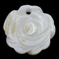 Natürliche weiße Muschel Anhänger, Blume, 13x13x2mm, Bohrung:ca. 1mm, 20PCs/Tasche, verkauft von Tasche