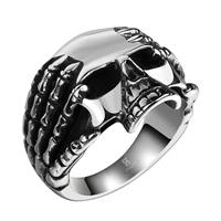 comeon® Finger-Ring, Edelstahl, Schädel, verschiedene Größen vorhanden & Schwärzen, 27x22mm, verkauft von PC