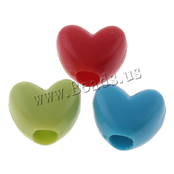 Buy Opaque Acrylic Beads Heart solid color mixed colors 12x10x7mm Hole:Approx 4mm Approx 1110PCs/Bag Sold Bag