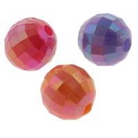 Plattierte Acrylperlen, Acryl, rund, AB Farben plattiert, facettierte & Volltonfarbe, gemischte Farben, 8mm, Bohrung:ca. 1mm, ca. 1970PCs/Tasche, verkauft von Tasche