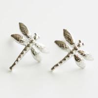 925 Sterling Silber Ohrstecker, Libelle, ohne Ohrmutter, 9x8.70x1.20mm, 20PaarePärchen/Menge, verkauft von Menge
