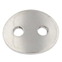 Ovale Taste Verschluss, Edelstahl, flachoval, Handarbeit poliert, originale Farbe, 14x12x1mm, Bohrung:ca. 2mm, 100PCs/Tasche, verkauft von Tasche