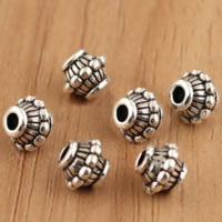 Bali Sterling Silber Perlen, Thailand, Trommel, 6.50x5.70mm, Bohrung:ca. 1.5mm, 40PCs/Menge, verkauft von Menge