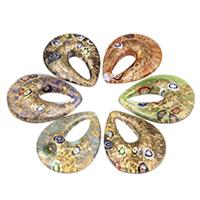 Millefiori Scheibe Glas Anhänger, Lampwork, Tropfen, handgemacht, mit Millefiori Scheibe & Goldsand, gemischte Farben, 40x52x11mm, Bohrung:ca. 10x25mm, 12PCs/Tasche, verkauft von Tasche