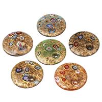 Mode Lampwork Anhänger, flache Runde, handgemacht, mit Millefiori Scheibe & Goldsand, gemischte Farben, 41x9mm, Bohrung:ca. 5-6mm, 12PCs/Tasche, verkauft von Tasche