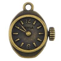 Zinklegierung Uhr Anhänger, Wecker, antike Bronzefarbe plattiert, frei von Nickel, Blei & Kadmium, 17x20.50x3.50mm, Bohrung:ca. 2mm, 200PCs/Menge, verkauft von Menge