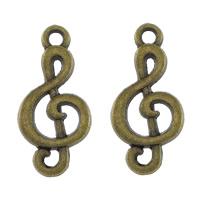 Musikinstrument Zinklegierung Anhänger, Musiknote, antike Bronzefarbe plattiert, frei von Nickel, Blei & Kadmium, 11x23x2mm, Bohrung:ca. 2mm, 500PCs/Menge, verkauft von Menge