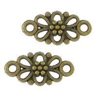 Blume Zinklegierung Schmuckverbinder, antike Bronzefarbe plattiert, 1/1-Schleife, frei von Nickel, Blei & Kadmium, 16x8x4mm, Bohrung:ca. 1.5mm, 1000PCs/Menge, verkauft von Menge