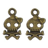 Zinklegierung Schädel Anhänger, antike Bronzefarbe plattiert, frei von Nickel, Blei & Kadmium, 9x16x2mm, Bohrung:ca. 1.5mm, 1000PCs/Menge, verkauft von Menge