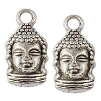 Buddhische Schmuck Anhänger, Zinklegierung, Buddha, antik silberfarben plattiert, buddhistischer Schmuck, frei von Nickel, Blei & Kadmium, 8x16x4.50mm, Bohrung:ca. 2mm, ca. 769PCs/kg, verkauft von kg