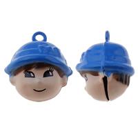 Messing Glocke Anhänger, Junge, Spritzlackierung, frei von Nickel, Blei & Kadmium, 20x22x18mm, Bohrung:ca. 1.5mm, 50PCs/Tasche, verkauft von Tasche
