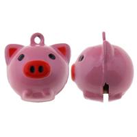 Messing Glocke Anhänger, Schwein, Spritzlackierung, Fuchsia, frei von Nickel, Blei & Kadmium, 20x21x19mm, Bohrung:ca. 1.5mm, 50PCs/Tasche, verkauft von Tasche